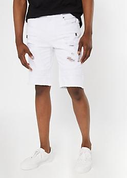 Supreme Flex White Moto Frayed Jean Shorts