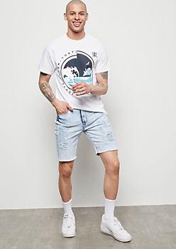 Flex Light Acid Wash Raw Cut Jean Shorts