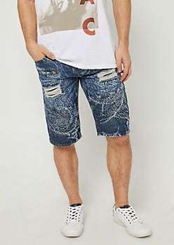 Marbled Acid Wash Moto Shorts