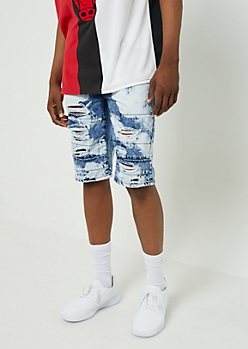 Dark Bleach Wash Ripped Thigh Jean Shorts