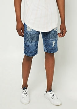 Medium Wash Distressed Moto Shorts
