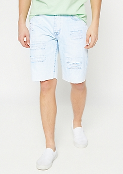Bleach Wash Ripped Jean Shorts