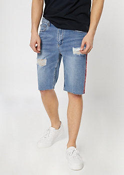 Supreme Flex Medium Wash Bandana Striped Jean Shorts