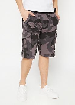 Black Camo Print Cargo Shorts