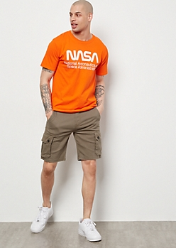 Olive Twill Cargo Shorts