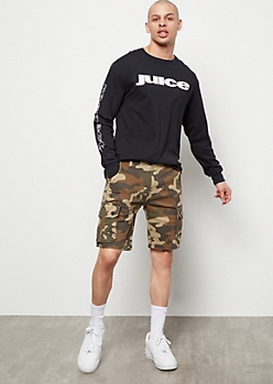 Camo Print Twill Cargo Shorts