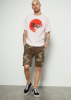 Flex Camo Print Twill Cargo Shorts