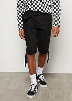 Black Hoop Belted Cargo Shorts