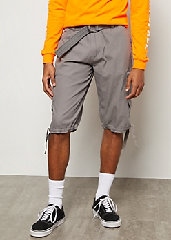 Gray Hoop Belted Cargo Shorts