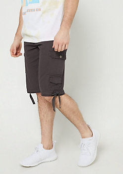 Charcoal Gray Belted Cargo Shorts