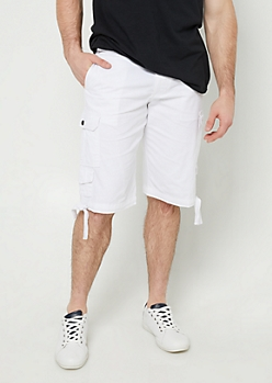 White Belted Cargo Shorts