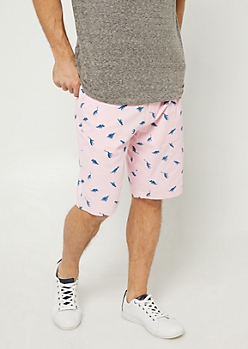 Pink Dinosaur Print Twill Shorts