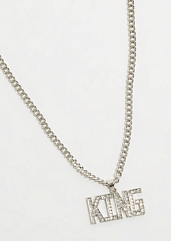Silver King Pendant Chain Necklace