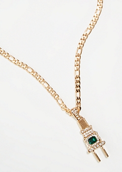 Gold Rhinestone Plug Chain Necklace