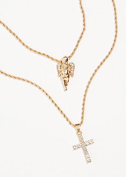 Gold Rhinestone Cross Double Chain Necklace