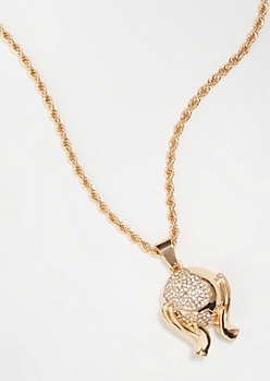 Gold Rhinestone Globe Chain Necklace