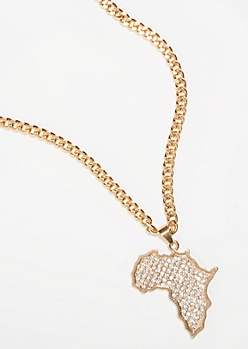 Gold Rhinestone Africa Chain Necklace