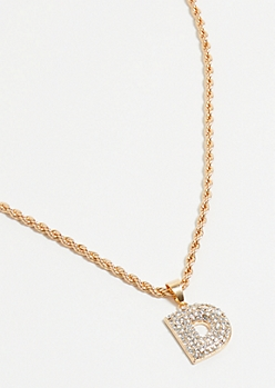 Gold D Initial Chain Necklace