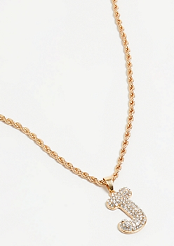 Gold J Initial Chain Necklace