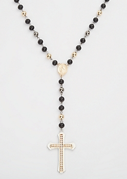 Black & Gold Rosary Necklace