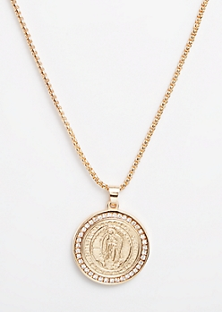 Gold Etched Guadalupe Coin Necklace