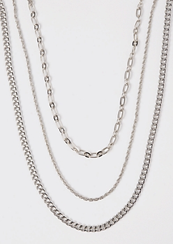 3-Pack Silver Chain Necklace Set