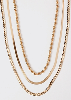 3-Pack Gold Rope Chain Necklace Set