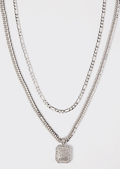 2-Pack Silver Dog Tag Chain Necklace Set