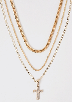3-Pack Gold Cross Chain Necklace Set
