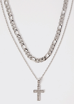 2-Pack Silver Cross Chain Necklace Set