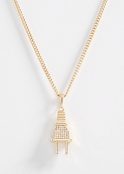 Gold Rhinestone Plug Necklace
