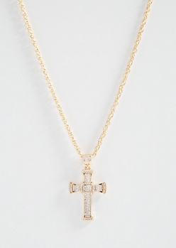 Gold Rhinestone Celtic Cross Necklace