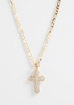 Gold Figaro Rhinestone Cross Necklace
