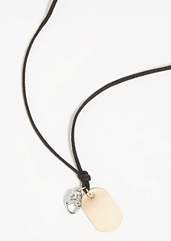 Faux Leather Dog Tag Necklace