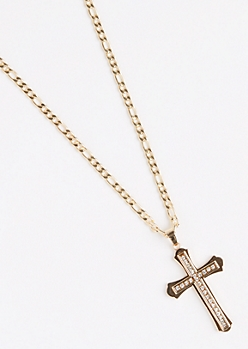 Antique Gold Metal Cross Necklace