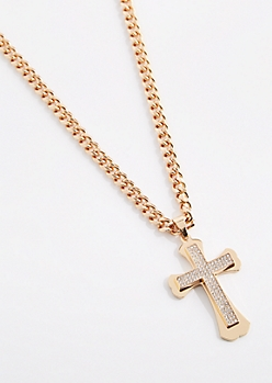 Blinged Out Cross Chain Necklace