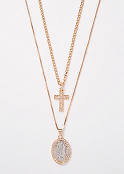 2-Pack Cross Saint Chain Necklace Set