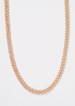 Gold Rhinestone Chain Necklace