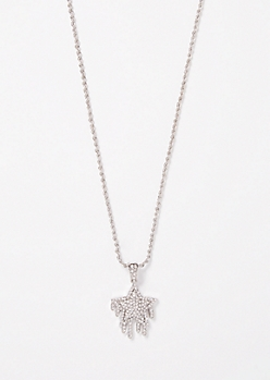 Silver Drippy Star Chain Necklace