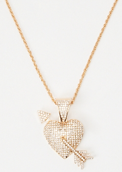 Gold Gem Heart Arrow Necklace