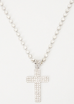 Silver Gem Cross Necklace