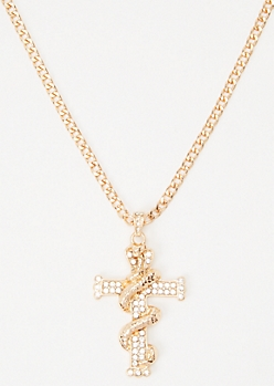 Gold Snake Cross Necklace