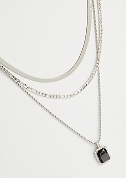 3-Pack Mixed Silver Chain Black Pendant Necklace Set