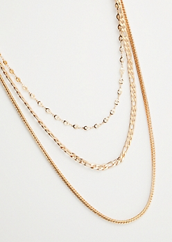 3-Pack Mixed Gold Chain Necklace Set
