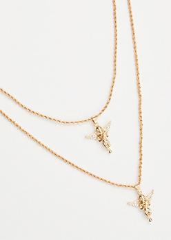 2-Pack Gold Chain Gemstone Angel Necklace Set