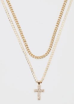 Gold Chain Layered Cross Necklace