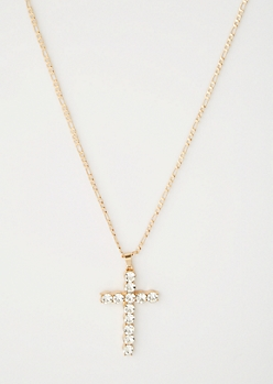Gold Gem Cross Chain Necklace