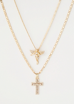 Gold Double Chain Cross Necklace