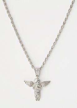 Silver Gem Angel Chain Necklace