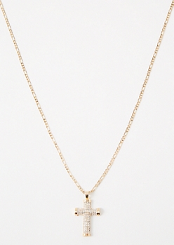 Gold Outlined Gem Cross Chain